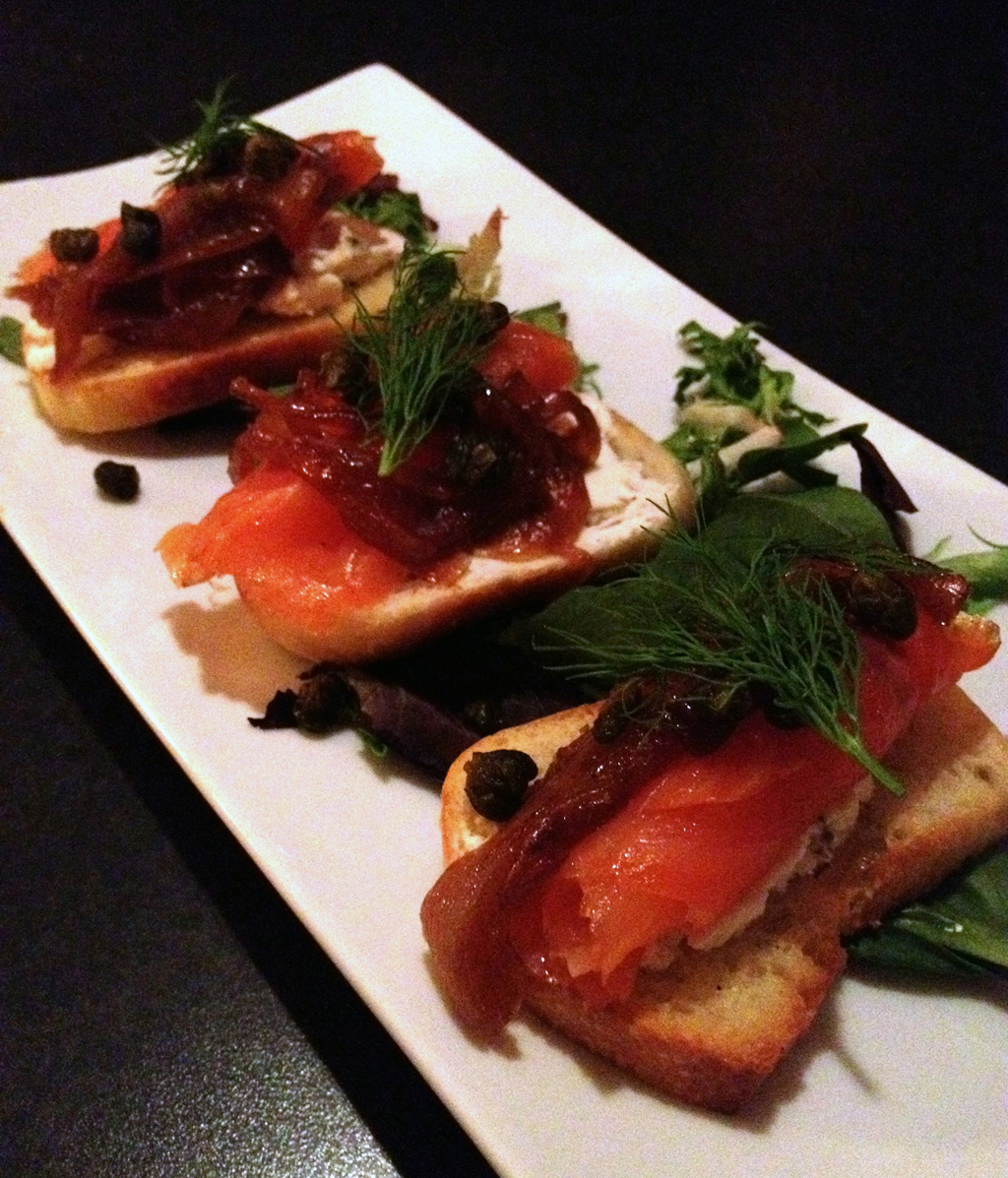 104 st grill let 39 s om nom for Smoked salmon canape