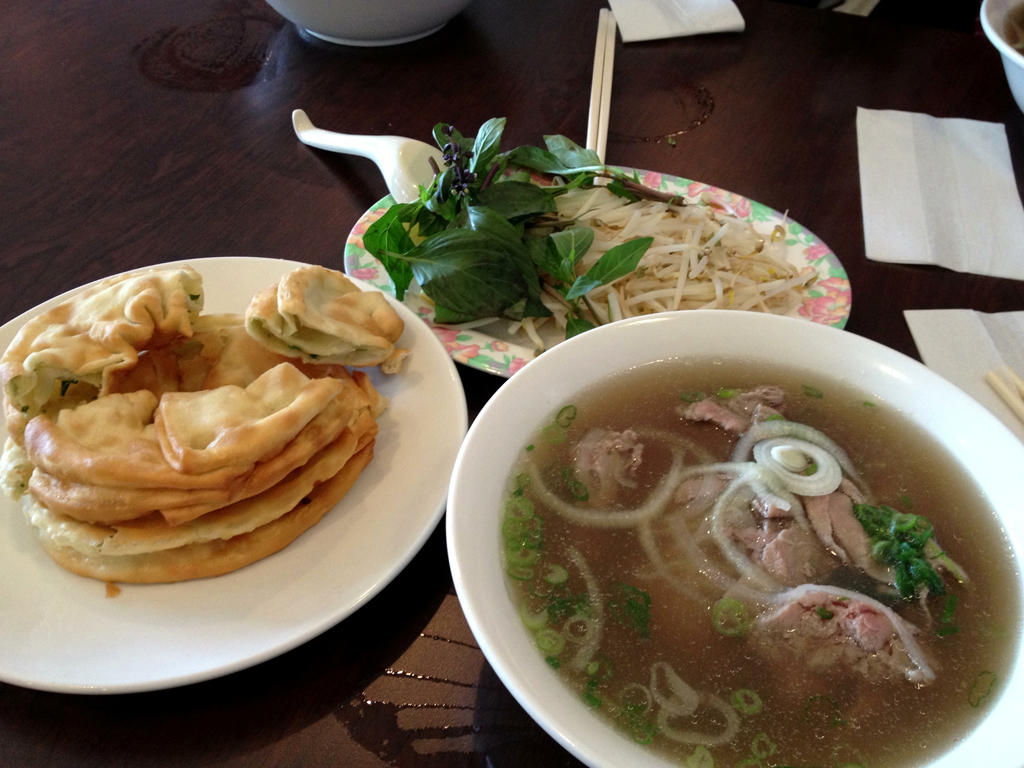 Pho Tai Nam and Green Onion Cakes