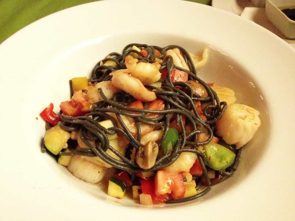 Black Spaghetti with Prawns and Scallops