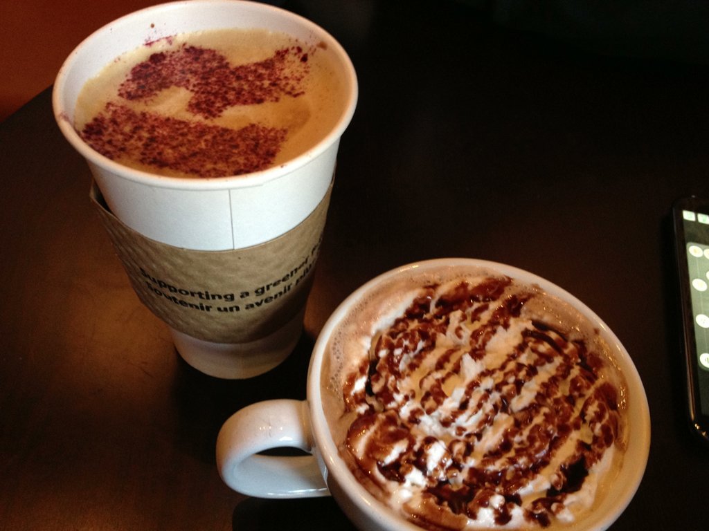 Latte and Dark Chocolate Mocha