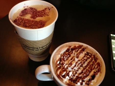 Latte and Dark Chocolate Mocha