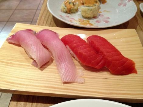 Hamachi and Sockeye Salmon Nigiri
